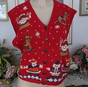 VTG Lord & Taylor Christmas Scene Button Down Vest